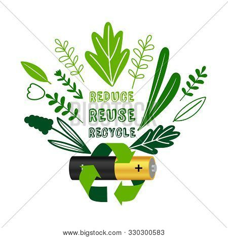 Battery Recycling. Electronic Equipment Reduce Reuse Recycle Concept, Recycled Batteries Electronics