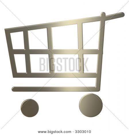 3D Gold Shopping Cart