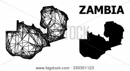 Web Vector Map Of Zambia. Wire Frame 2d Network In Eps Vector Format, Geographic Model For Patriotic