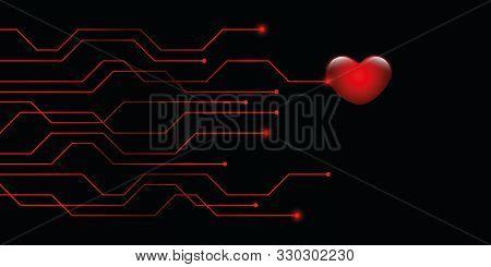 Digital Red Heart Online Dating Concept Vector Illustration Eps10