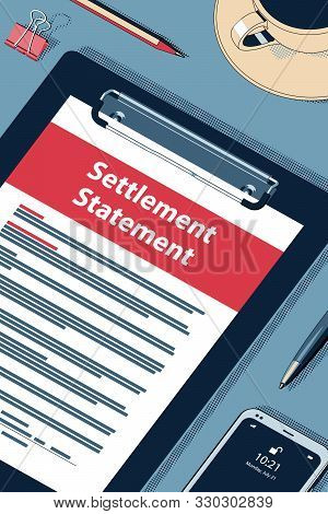 Settlement Statement Form - Vector Halftone Isometric Illustration.