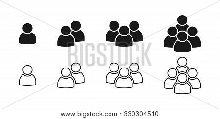 People Black Vector Icons. People Icons In Modern Simple Flat And Lines Design. People Vector Icon,