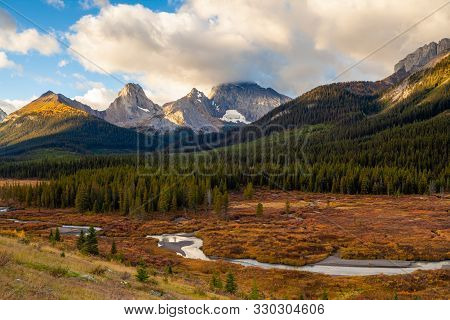 Autumnal Colors In The The Canadian Rocky Mountains In Kananaskis, Alberta, Canada