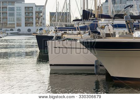 Unidentified Luxury Sailing Yachts In Sovereign Harbour And Marina In Eastbourne East Sussex England