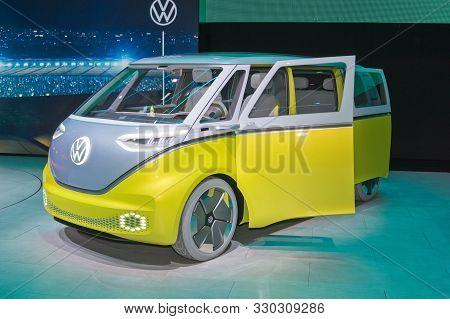 Frankfurt-september 19: Volkswagen Id.buzz Cencept At The Frankfurt International Motor Show On Sept