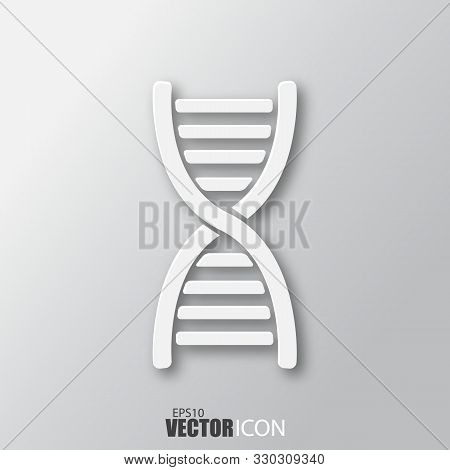 Dna Icon In White Style With Shadow Isolated On Grey Background.