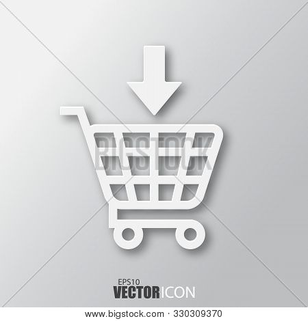 Add To Shopping Cart Icon In White Style With Shadow Isolated On Grey Background.