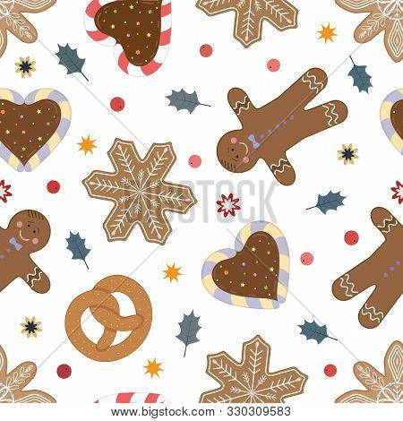 Holliday Bright Vector Seamless Pattern. Christmas Objects, Cakes, And Candies