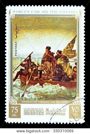 Cancelled Postage Stamp Printed By Manama, That Shows Painting George Washington Crossing The Delawa