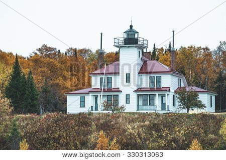 Raspberry Island Lighthouse In Wisconsin, On Lake Superior In Apostle Islands National Lakeshore