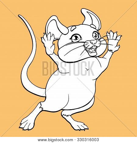 The Ceerful Mouse Contour On Beige Background