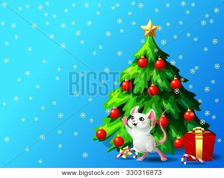 White Cheerful Mouse In Box Ang Fir Tree On Blue Gorizontal