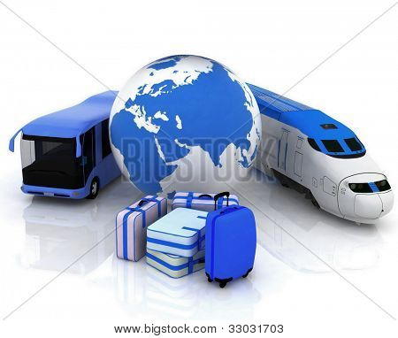 traffic resources with a globe and suitcases