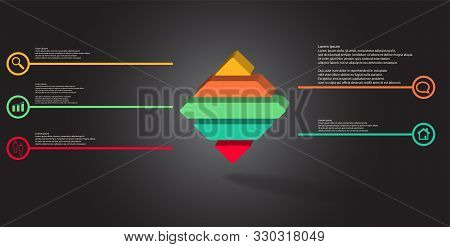 3D Illustration Infographic Template With Embossed Rhomb Horizontally Divided To Five Parts