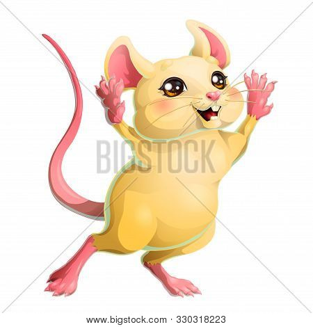 The Ceerful Yellow Mouse On White Background