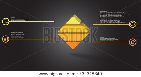 3D Illustration Infographic Template With Embossed Rhomb Horizontally Divided To Four Parts