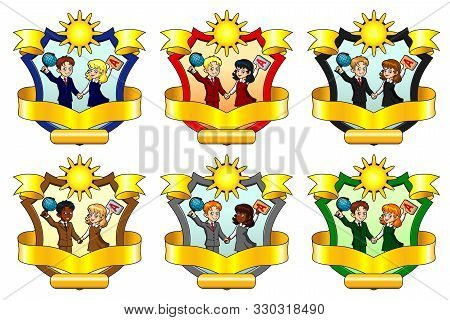 Set From Six School Emblem Of A Class