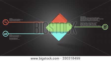 3D Illustration Infographic Template With Embossed Rhomb Horizontally Divided To Three Parts
