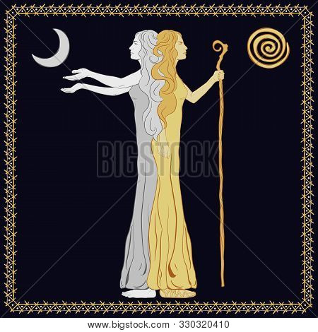 Women In The Image Of A Two-faced Janus. A Woman With A Staff, Stick. A Woman With Outstretched Arms