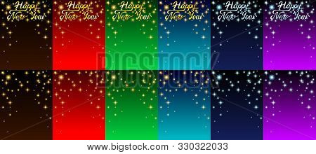 Set Background Card With Stars And Letters
