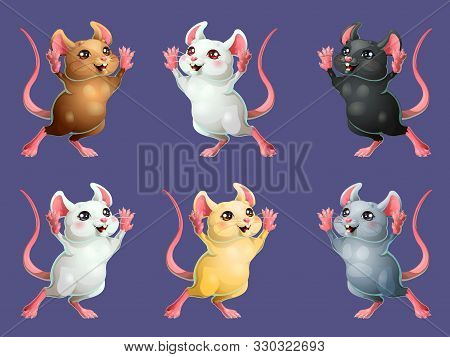 The Set Six Cheerful Mice On White