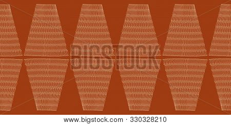 Abstract Woven Rhomboid Style Border. Seamless Geometric Vector Pattern On Earthy Red Background. Gr