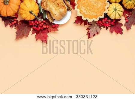 Thanksgiving Day Concept, View From Above On Autumn Natural Foliage Decor And Traditional Foods, Fes