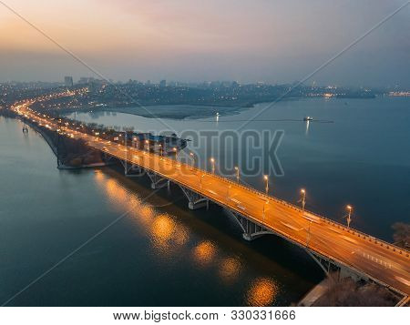 Evening Autumn Voronezh. Vogresovsky Bridge Over Voronezh River, Aerial View