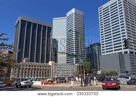 Denver, Colorado - September 10:  Views On Downtown Business Skyscrapers In Denver,colorado,usa On S