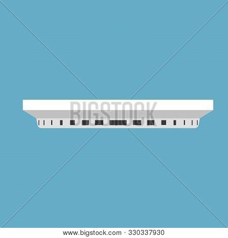 Smoke Alarm Isolated White Vector Icon. Design Fire Technology Simple Concept. Smart Control Detecto