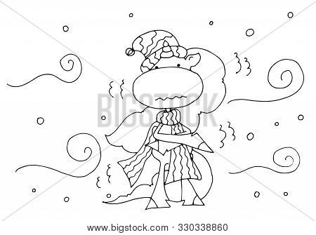 Coloring Book For Kids - Unicorn In A Hat And Scarf Under Snowfall And Blizzard In Winter. Black And