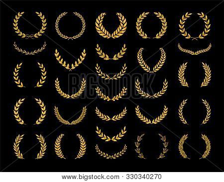 Set Of Different Golden Silhouette Laurel Foliate And Olive Wreaths Depicting An Award, Achievement,