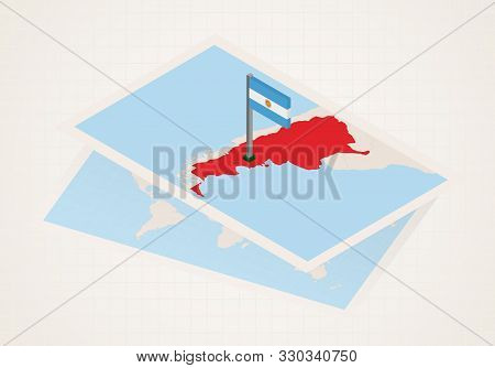 Argentina Selected On Map With Isometric Flag Of Argentina. Vector Paper Map.