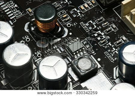 printed circuit board and microchip, or cpu closeup - electronic component for digital equipment, concept for development of electric computer circuits