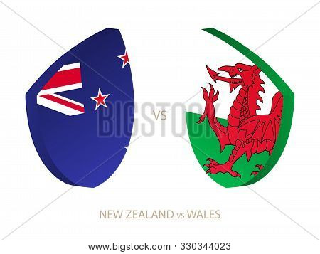 New Zealand V Wales, Icon For Rugby Tournament. Rugby Vector Icon.