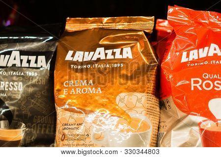 Tyumen, Russia - October 15, 2019: Lavazza Coffee. Luigi Lavazza Spa Is An Italian Manufacturer Of C