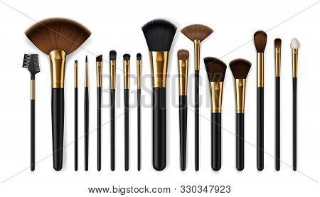 Makeup Brush Vector Mockups Of Beauty Cosmetics 3d Design. Blush, Eyeshadow And Contour, Eyebrow Com