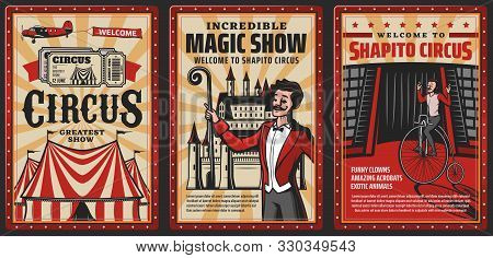 Circus Show Vintage Posters With Vector Carnival Top Tent. Acrobat Riding Retro Bicycle On Cirque Ar