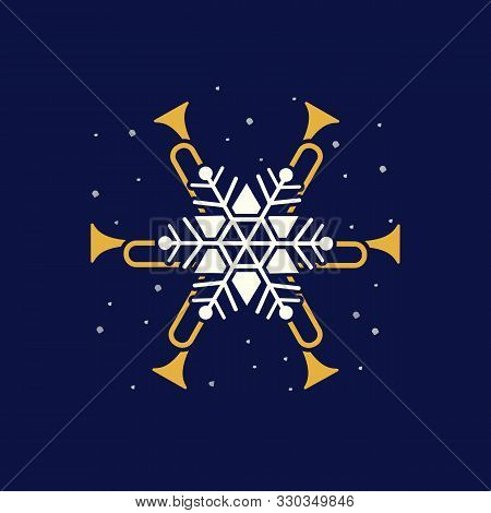 Jazz Christmas Holidays Music Fest Hand Drawn Flat Vector Icon. Trumpet Christmas Snowflake Jazz Fun