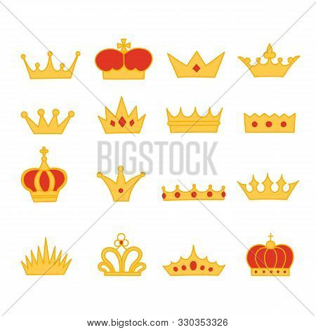 Crown cartoon style icon collection of royalty symbol objects poster