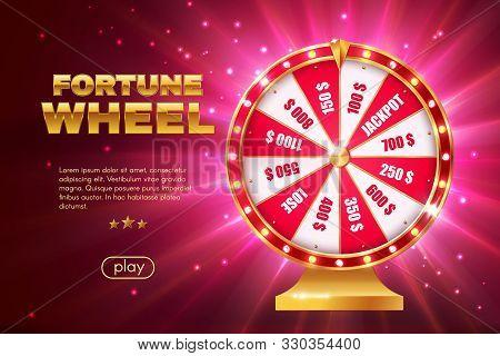 Fortune Wheel 3d Vector Design Of Gambling Game, Online Casino Landing Page Template. Realistic Lott