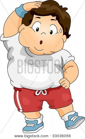Illustration of an Overweight Boy Exercising poster