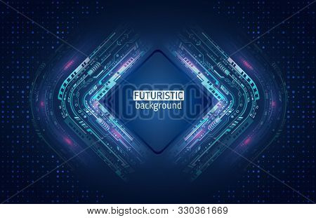 Abstract Global Sci Fi Concept. Hi-tech Vector Illustration With Various Technology Elements. Digita