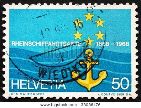Postage stamp Switzerland 1968 Flag of Rhine Navigation Committe
