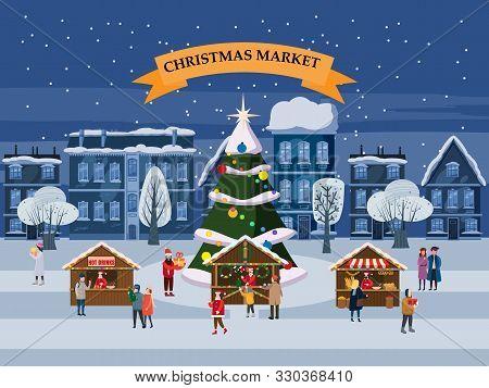 Christmas Village, Winter City, Souvenirs Market Wooden Stalls With Decorations Souvenirs Gift Hot D