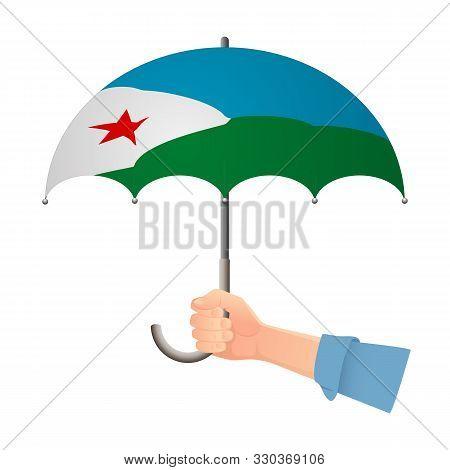 Djibouti Flag Umbrella. Weather Symbols. National Flag Of Djibouti Vector Illustration