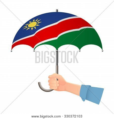 Namibia Flag Umbrella. Weather Symbols. National Flag Of Namibia Vector Illustration