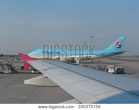 Prague, Czech Republic - Circa July 2014: Boeing 747 Jumbo Of The Korean Airlines