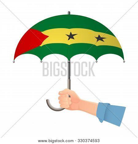 Sao Tome And Principe Flag Umbrella. Weather Symbols. National Flag Of Sao Tome And Principe Vector