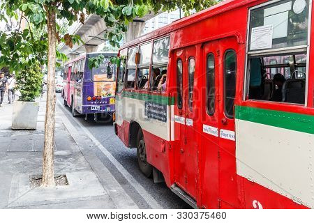 Bangkok, Thailand - 23rd March 2018:  Old Bangkok, Metropolitan Authority Buses On Sukhumvit Road. N